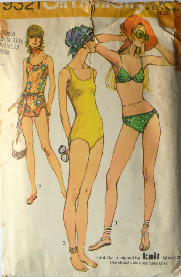 1970s Simplicity Vintage Sewing Pattern 9321, Size 8; Misses' Set of Bathing Suits