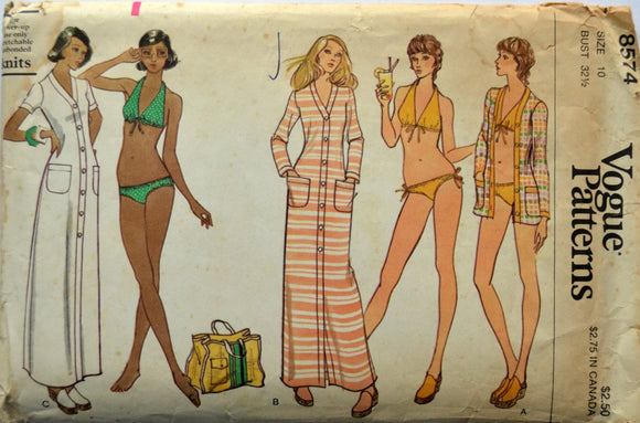 1970s Vogue Vintage Sewing Pattern 8574, Size 10; Misses' Cover-Up and Swimsuit