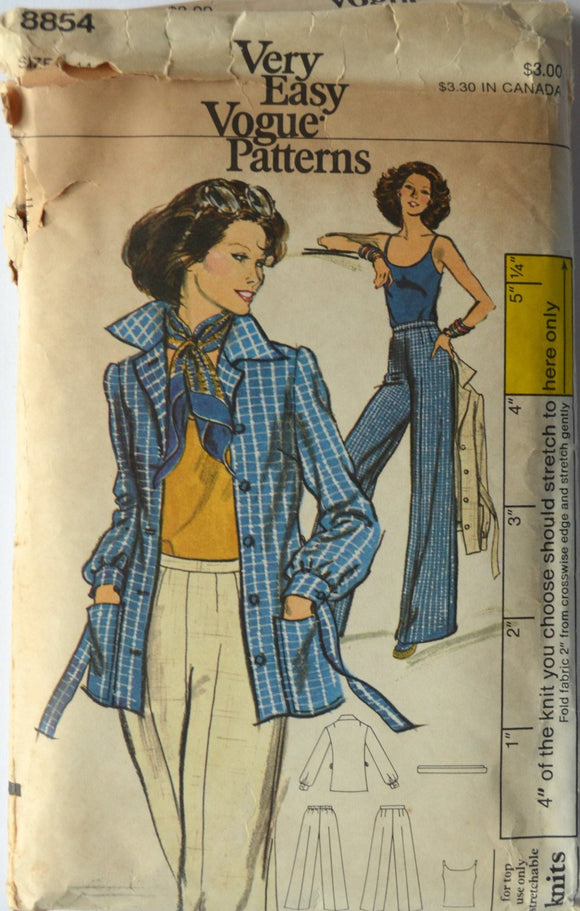 1970s Vogue Vintage Sewing Pattern 8854, Size 14; Misses' Jacket, Top, and Pants