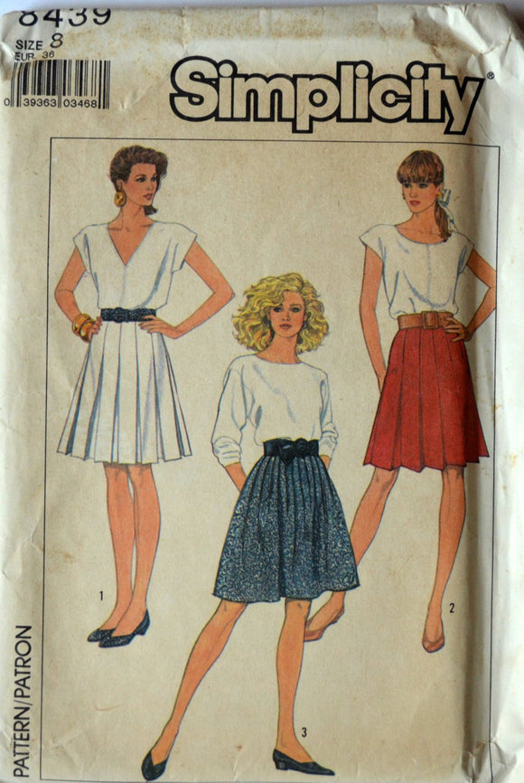 Uncut 1980s Simplicity Vintage Sewing Pattern 8439; Size 8; Misses' Skirts