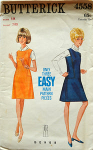 Uncut 1960s Butterick Vintage Sewing Pattern 4558, Size 18; One-Piece Jumper
