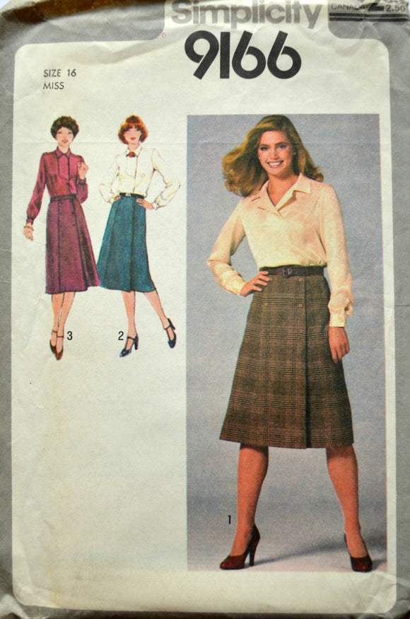 Uncut 1970s Simplicity Vintage Sewing Pattern 9166, Size 16; Misses' Pullover Blouse and Front Wrap Skirt