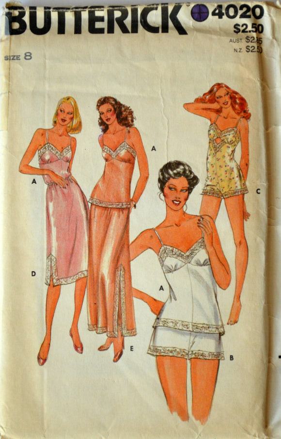 1980s Butterick Vintage Sewing Pattern 4020, Size 8; Misses' Camisole, Shorts, Bodysuit, and Half-Slip