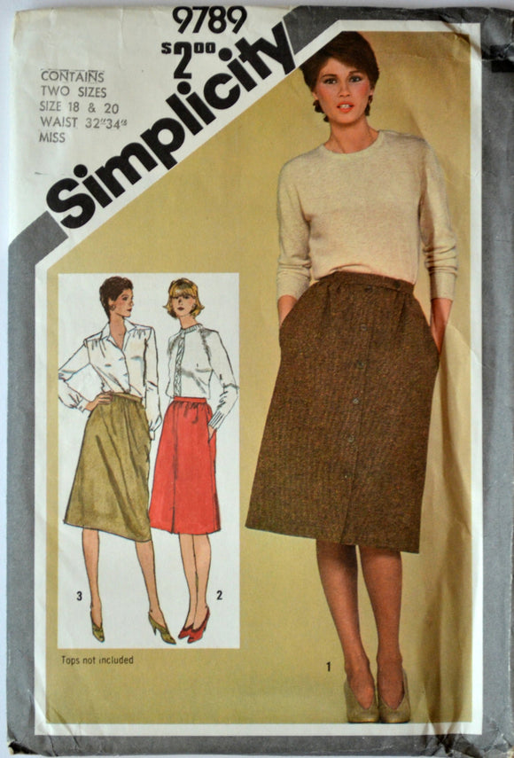 Uncut 1980s Simplicity Vintage Sewing Pattern 9789; Size 18, 20; Waist 32, 34; Misses' Slim-Fitting Skirts