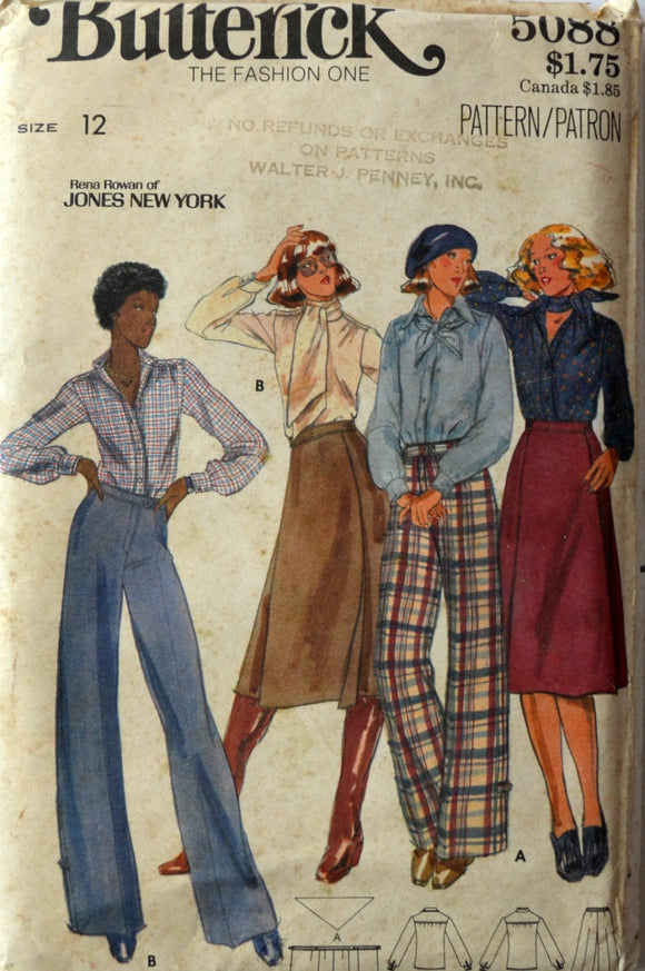 Uncut 1970s Butterick Vintage Sewing Pattern 5088, Size 12; Misses' Blouses, Scarf, Ascot, Skirt, and Pants