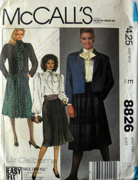 Uncut 1980s McCall's Vintage Sewing Pattern 8826, Size 12; Misses' Jacket, Blouse and Skirt