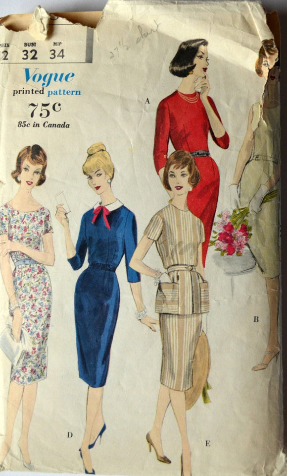 1960s Vogue Vintage Sewing Pattern 9988, Size 12