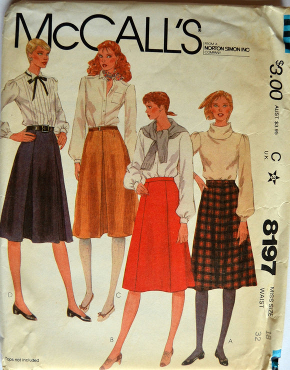 Uncut 1980s McCall's Vintage Sewing Pattern 8197, Size 18; Misses' Skirts