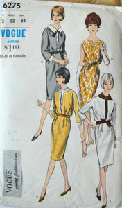 1960s Vogue Vintage Sewing Pattern 6275, Size 12