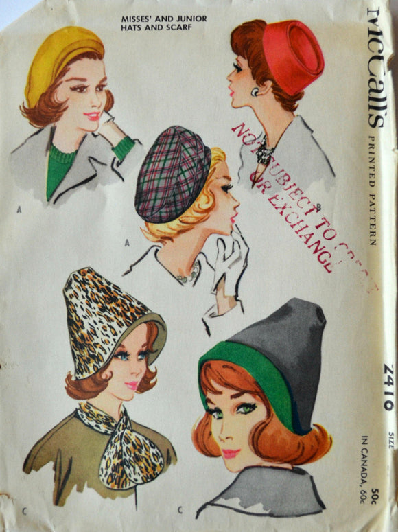 Uncut 1960s McCall's Vintage Sewing Pattern 2416, Size 23; Misses' and Junior Hats and Scarf