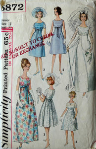 1960s Simplicity Vintage Sewing Pattern 5872, Size 13; Misses' and Jr One Piece Bride or Bridesmaid Dress or Evening Dress in 2 Lengths