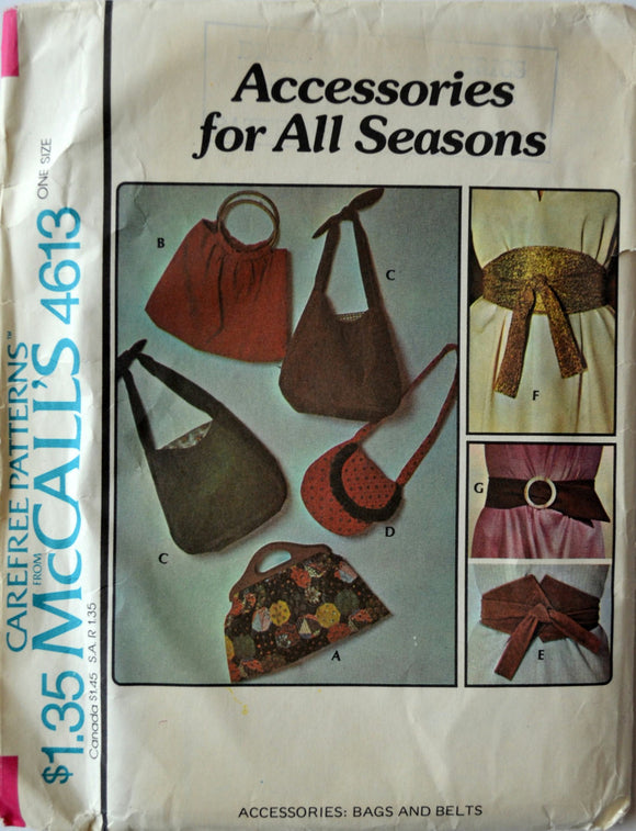Uncut 1970s McCall's Vintage Sewing Pattern 4613; Accessories: Bags and Belts
