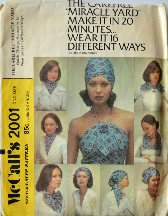Uncut 1970s McCall's Vintage Sewing Pattern 2001; Carefree Miracle Yard