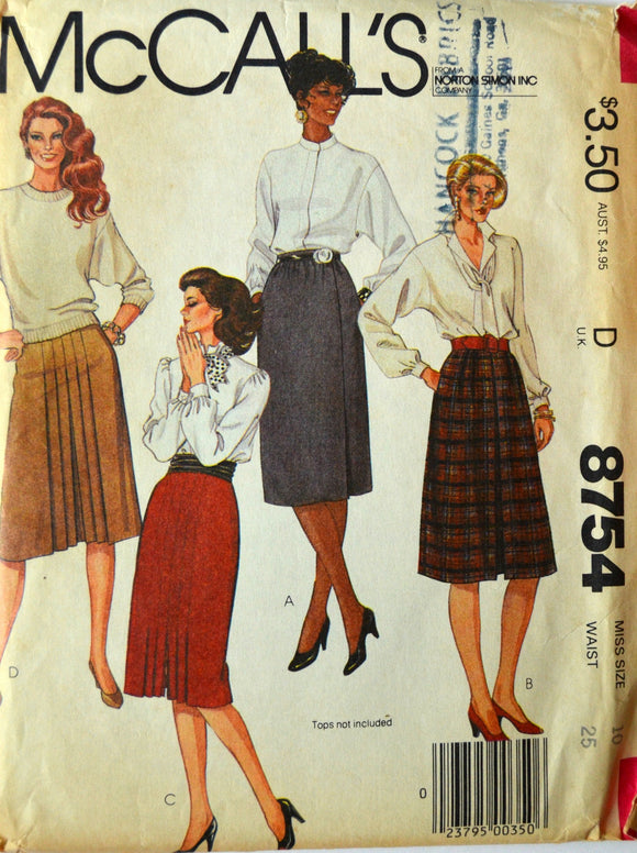 Uncut 1980s McCall's Vintage Sewing Pattern 8754, Size 10; Misses' Skirts