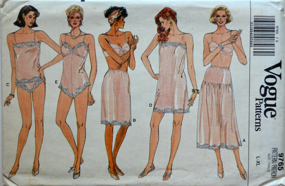 Uncut 1980s Vogue Vintage Sewing Pattern 9765, Size L-XL; Misses' Slip, Camisole, Teddy, Half-Slip, and Panties