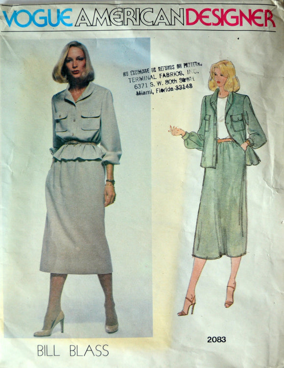 Uncut 1970s Vogue Vintage Sewing Pattern 2083, Size 10; Misses' Jacket and Skirt