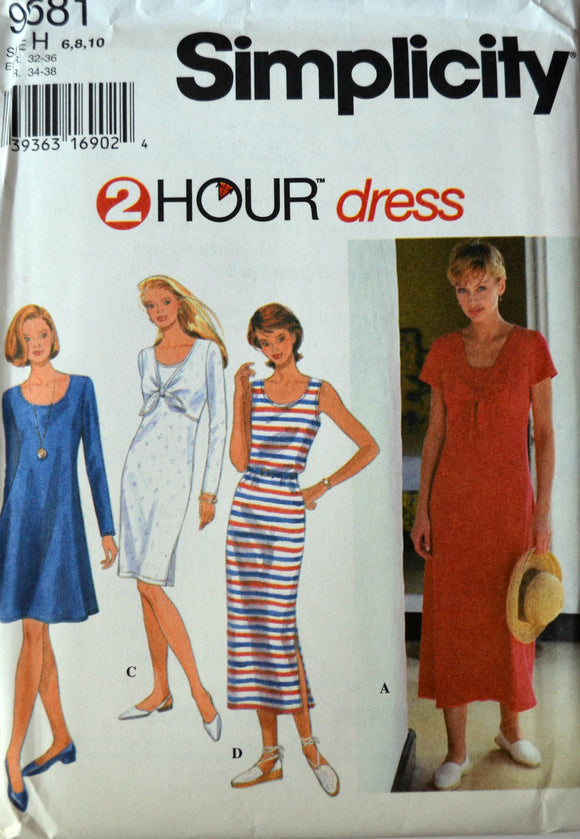 Uncut 1990s Simplicity Vintage Sewing Pattern 9681, Size 6-8-10