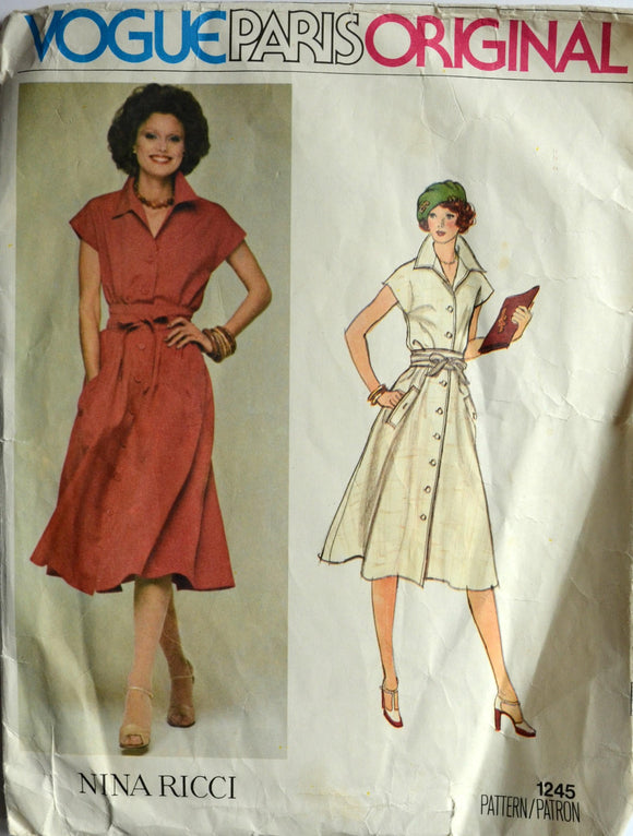 1970s Vogue Vintage Sewing Pattern 1245, Size 10; Nina Ricci Misses' Dress and Belt