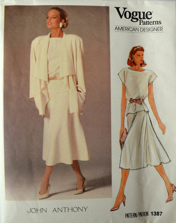 Uncut 1980s Vogue Vintage Sewing Pattern 1387, Size 14; John Anthony Misses' Jacket, Skirt, and Top