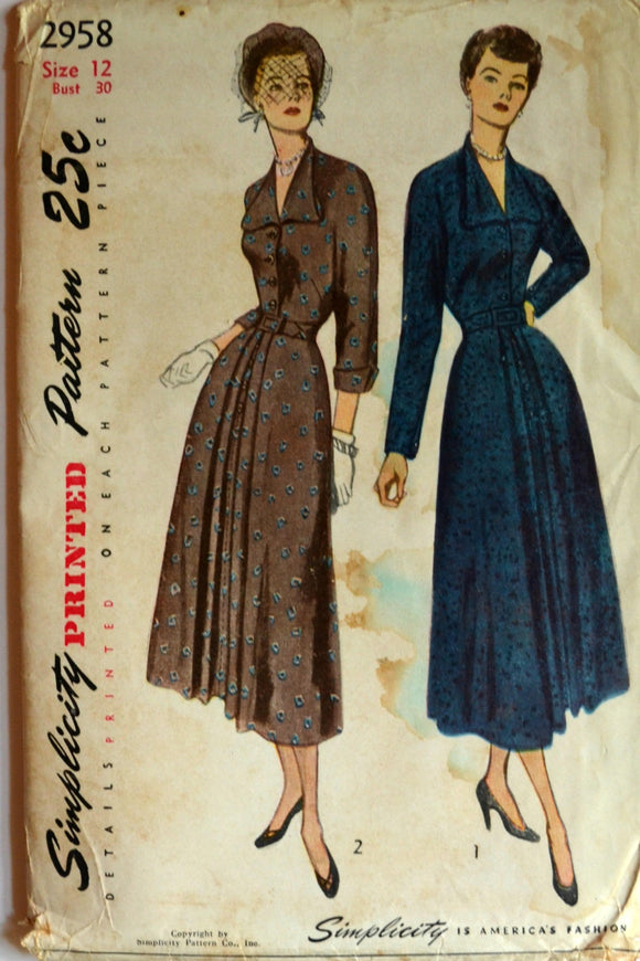 Uncut 1940s Simplicity Vintage Sewing Pattern 2958, Size 12