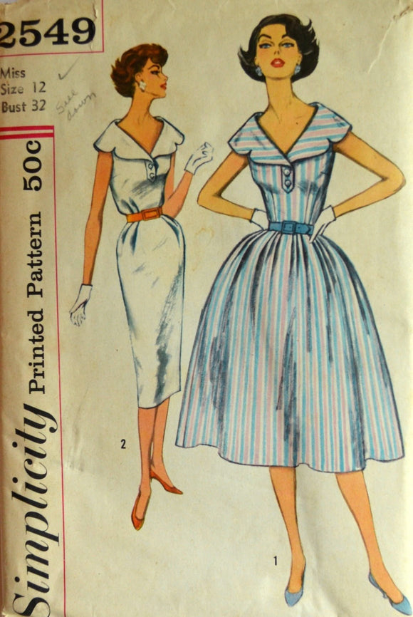 Uncut 1950s Simplicity Vintage Sewing Pattern 2549, Size 12