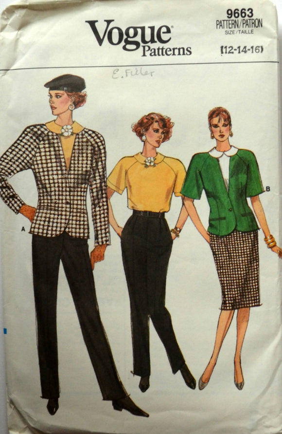 Uncut 1980s Vogue Vintage Sewing Pattern 9663, Size 12-14-16; Misses' Jacket, Skirt, Pants, and Top