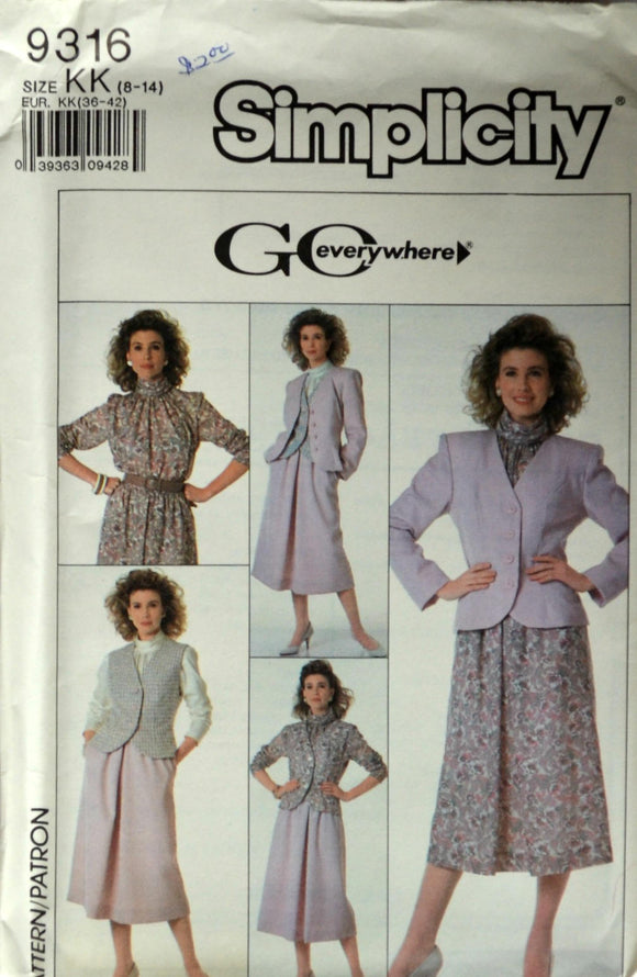 Uncut 1980s Simplicity Vintage Sewing Pattern 9316; Size 8-14; Misses' /Miss Petite Skirt, Blouse, Lined Vest and Lined Jacket