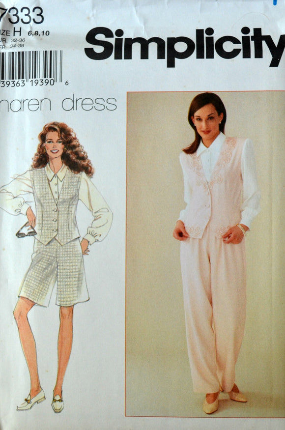 Uncut 1990s Simplicity Vintage Sewing Pattern 7333, Size 6-8-10