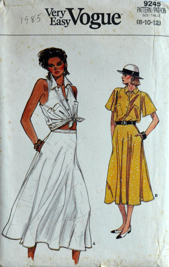1980s Vogue Vintage Sewing Pattern 9245, Size 8-10-12; Misses' Top and Skirt