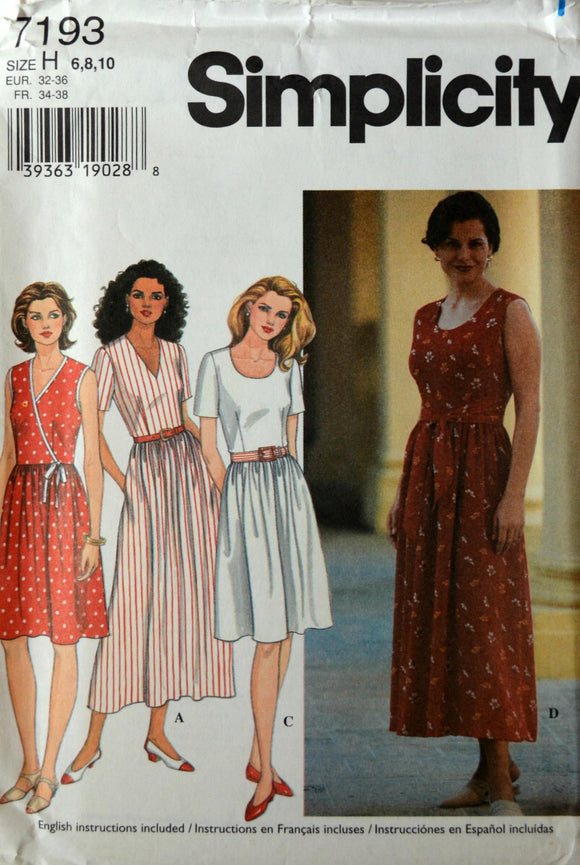 Uncut 1990s Simplicity Vintage Sewing Pattern 7193, Size 6-8-10