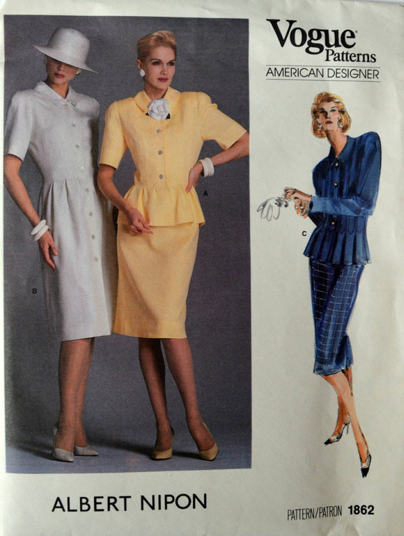 Uncut 1980s Vogue Vintage Sewing Pattern 1862, Size 14; Albert Nipon Misses' Dress, Top and Skirt