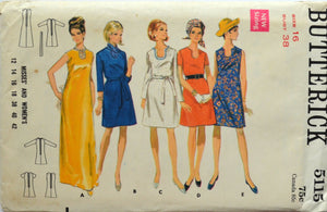 Uncut 1960s Butterick Vintage Sewing Pattern 5115, Size 16; Misses' and Women's One-Piece Dress and Belt