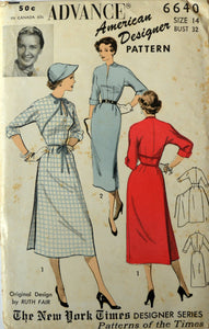 Uncut 1950s Advance Vintage Sewing Pattern 6640, Size 14; Misses' Dress