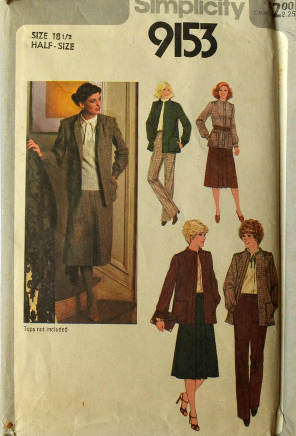 Uncut 1970s Simplicity Vintage Sewing Pattern 9153, Size 18.5; Misses' Skirt, Pants and Unlined Jacket