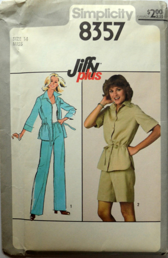 Uncut 1970s Simplicity Vintage Sewing Pattern 8357, Size 14; Misses' Pants, Shorts and Unlined Jacket
