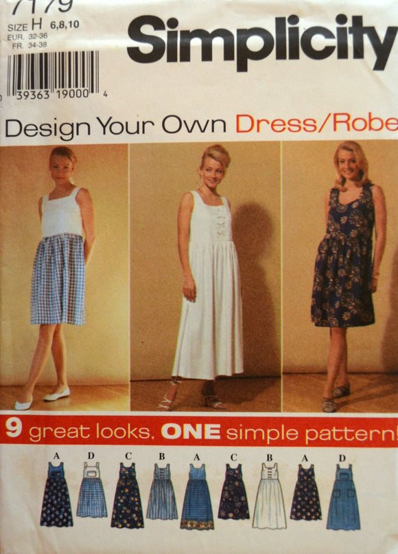 Uncut 1990s Simplicity Vintage Sewing Pattern 7179; Size 6-8-10