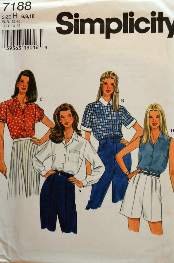 Uncut 1990s Simplicity Vintage Sewing Pattern 7188; Size 6-8-10