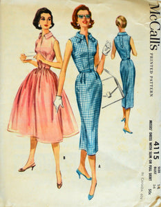 Uncut 1950s McCall's Vintage Sewing Pattern 4115, Size 14; Misses' Dress with Slim or Full Skirt