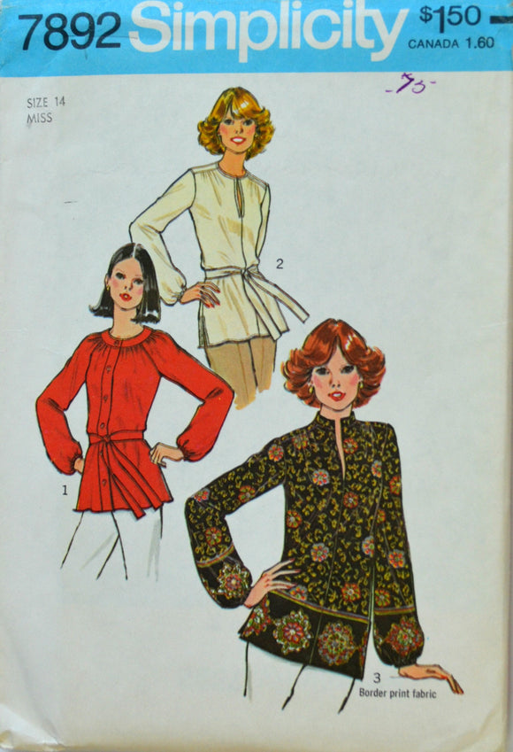 Uncut 1970s Simplicity Vintage Sewing Pattern 7892, Size 14; Misses' Tops