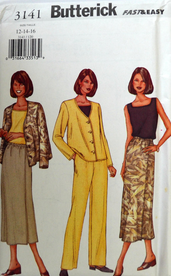 Uncut 2001 Butterick Sewing Pattern 3141, Size 12-14-16