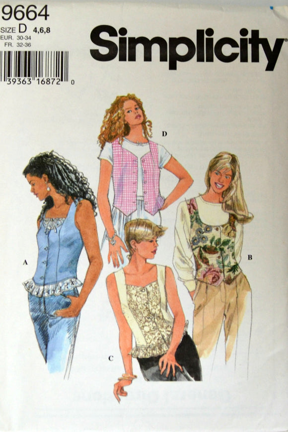 Uncut 1990s Simplicity Vintage Sewing Pattern 9664; Size 4-6-8