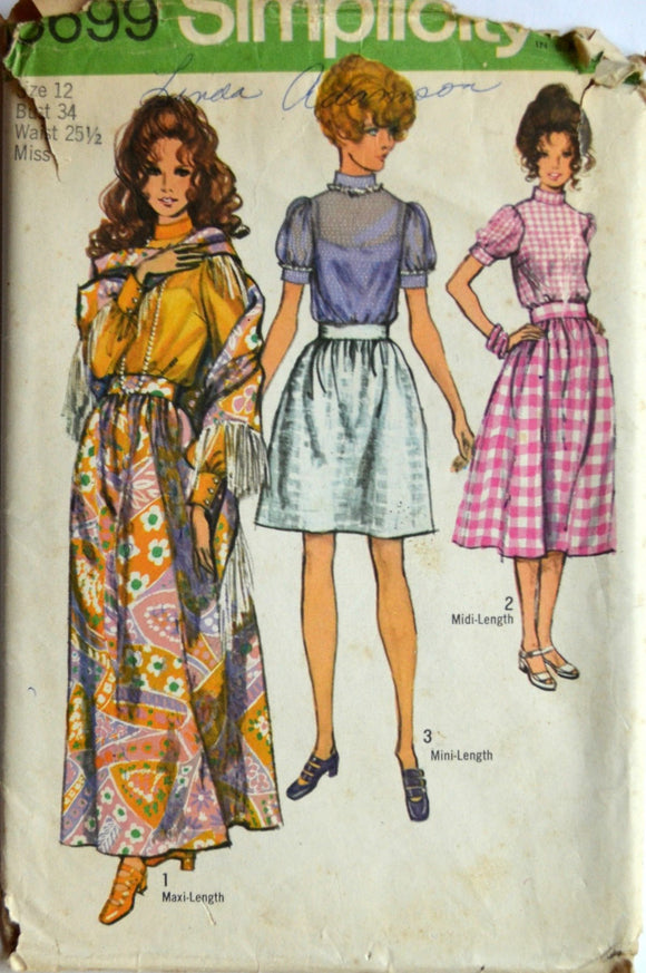 Uncut 1970s Simplicity Vintage Sewing Pattern 8699, Size 12; Misses' Skirt, Blouse and Shawl
