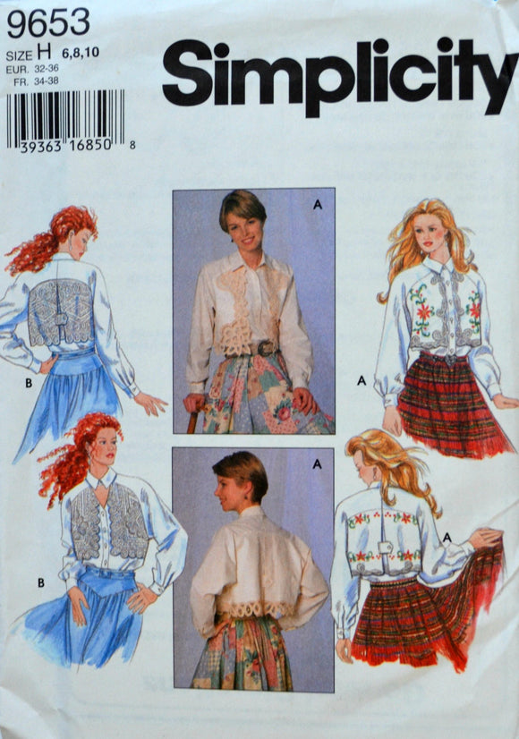 Uncut 1990s Simplicity Vintage Sewing Pattern 9653, Size 6-8-10