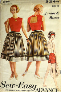 Uncut 1960s Advance Vintage Sewing Pattern 3244, Size 10;Junior and Misses' Sports Separates