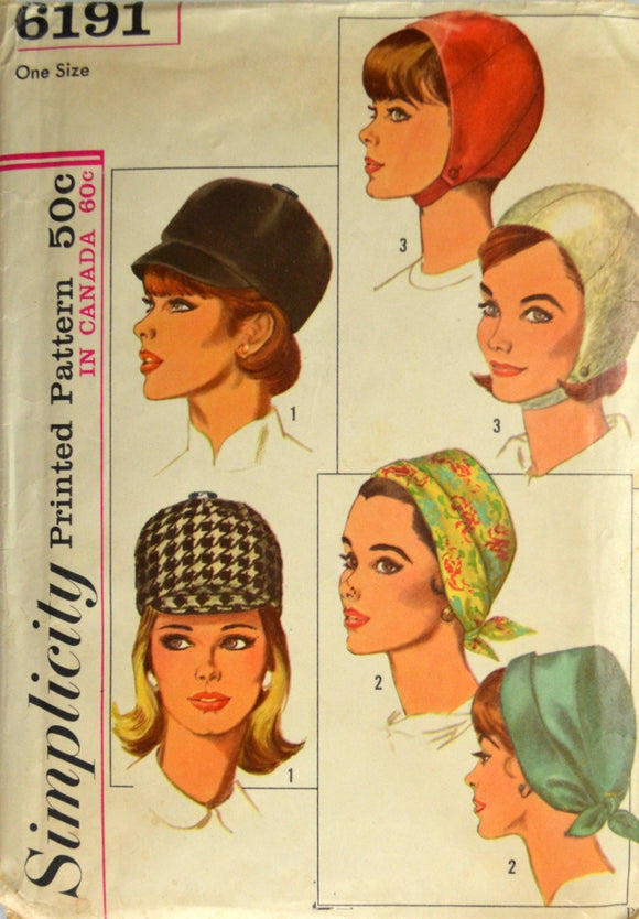 1960s Simplicity Vintage Sewing Pattern 6191; Misses' Set of Hats