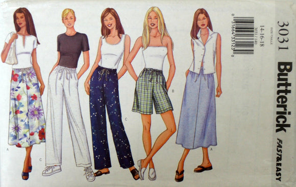 Uncut 2001 Butterick Sewing Pattern 3031, Size 14-16-18