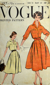 1950s Vogue Vintage Sewing Pattern 9397, Size 12; One Piece Dress