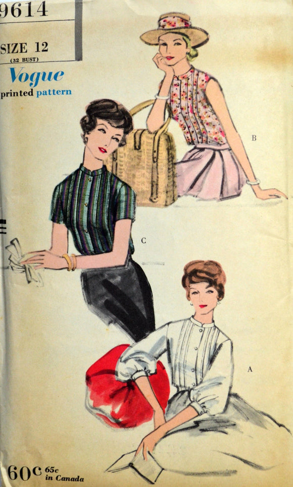 1950s Vogue Vintage Sewing Pattern 9614, Size 12