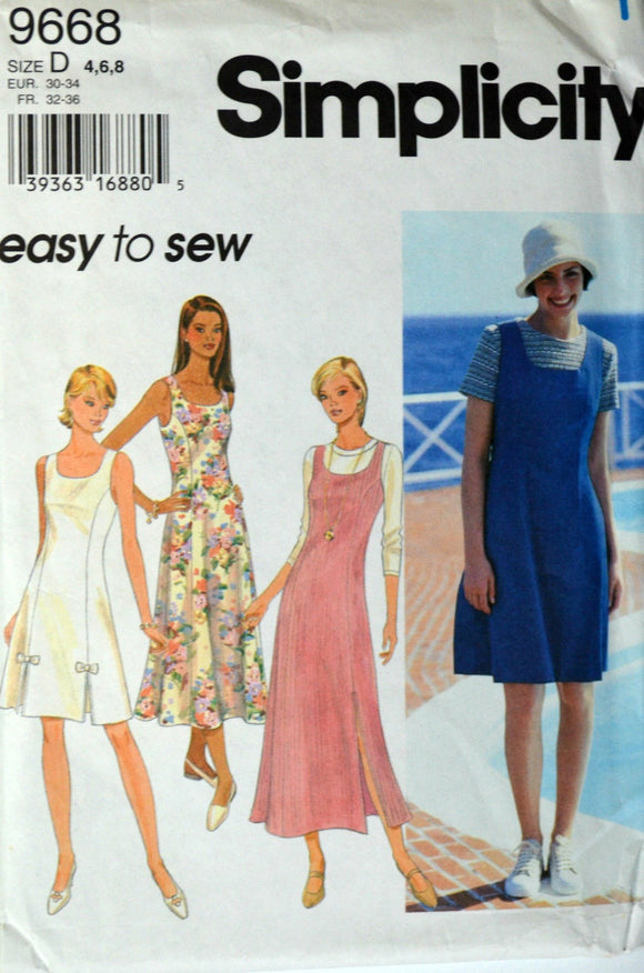 Uncut 1990s Simplicity Vintage Sewing Pattern 9668, Size 4-6-8