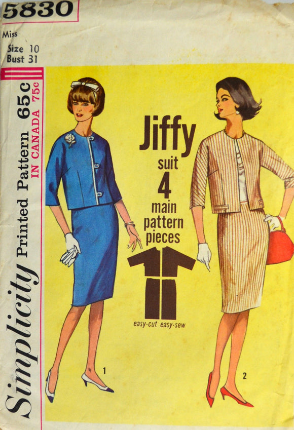 Uncut 1960s Simplicity Vintage Sewing Pattern 5830, Size 10